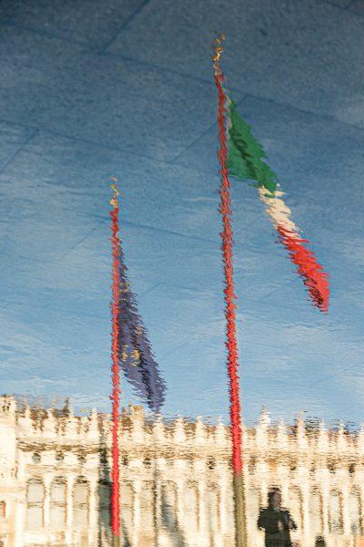 Aqua Alta am Markusplatz, Venedig